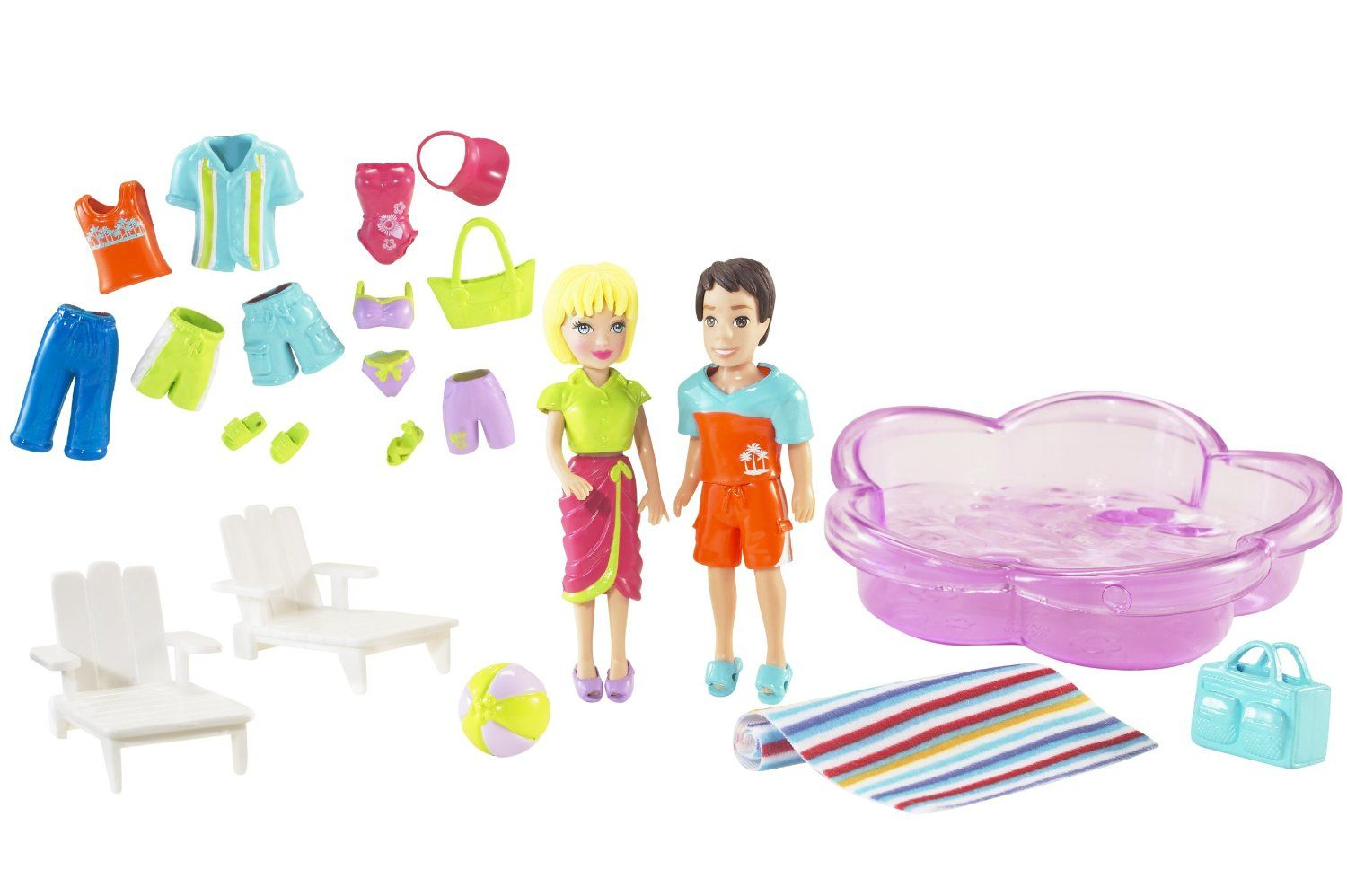 Amazon.com: Polly Pocket Poolin' Around Polly and Todd Playset: Toys & Games