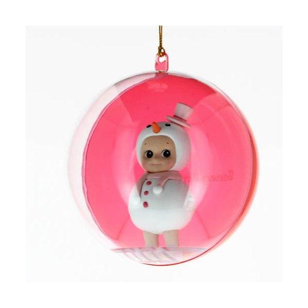 Boule de noel Sonny Angel bonhomme de neige rose   Boutique deco