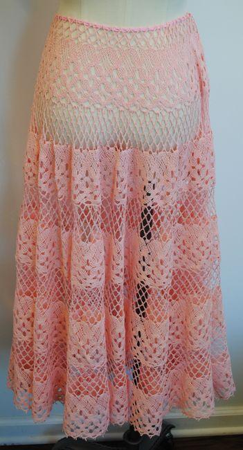 Pink Crochet Full Sweep Skirt. Back