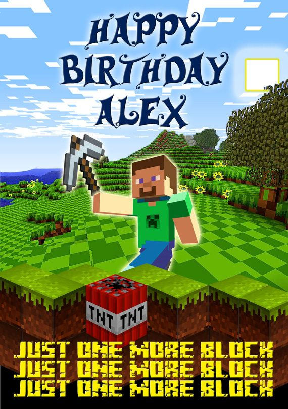 Minecraft Personalised Birthday Card A5 By Bluecatmum On Etsy 3 50 Personalized Birthday Cards Birthday Cards Personalized Birthday