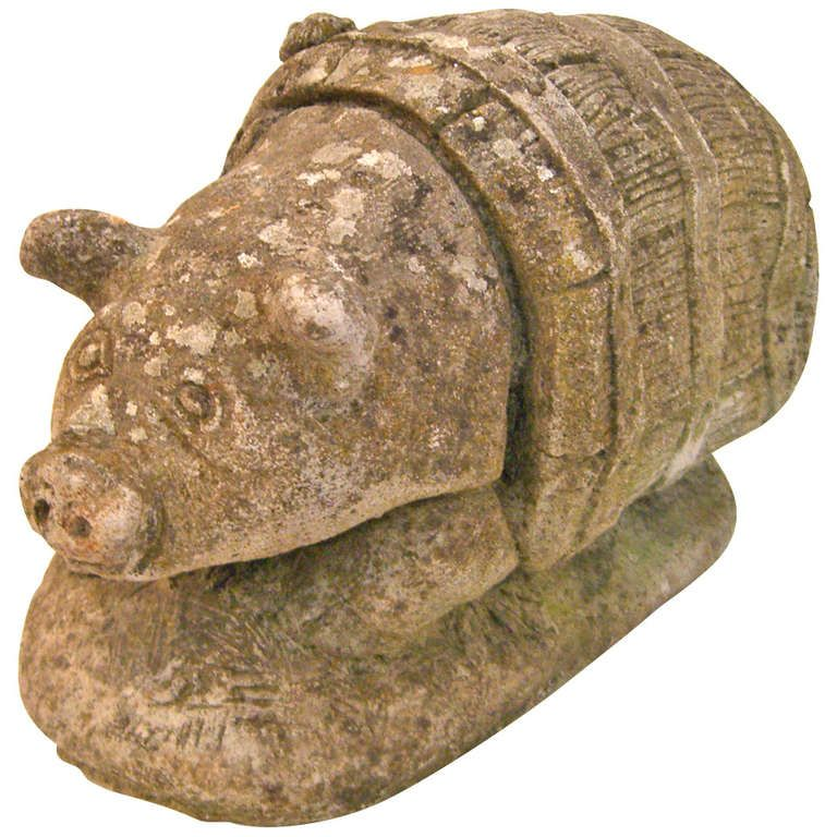 Cast Stone Piggy in a Barrel Garden Ornament | From a unique collection of antique and modern garden ornaments at http://www.1stdibs.com/furniture/building-garden/garden-ornaments/