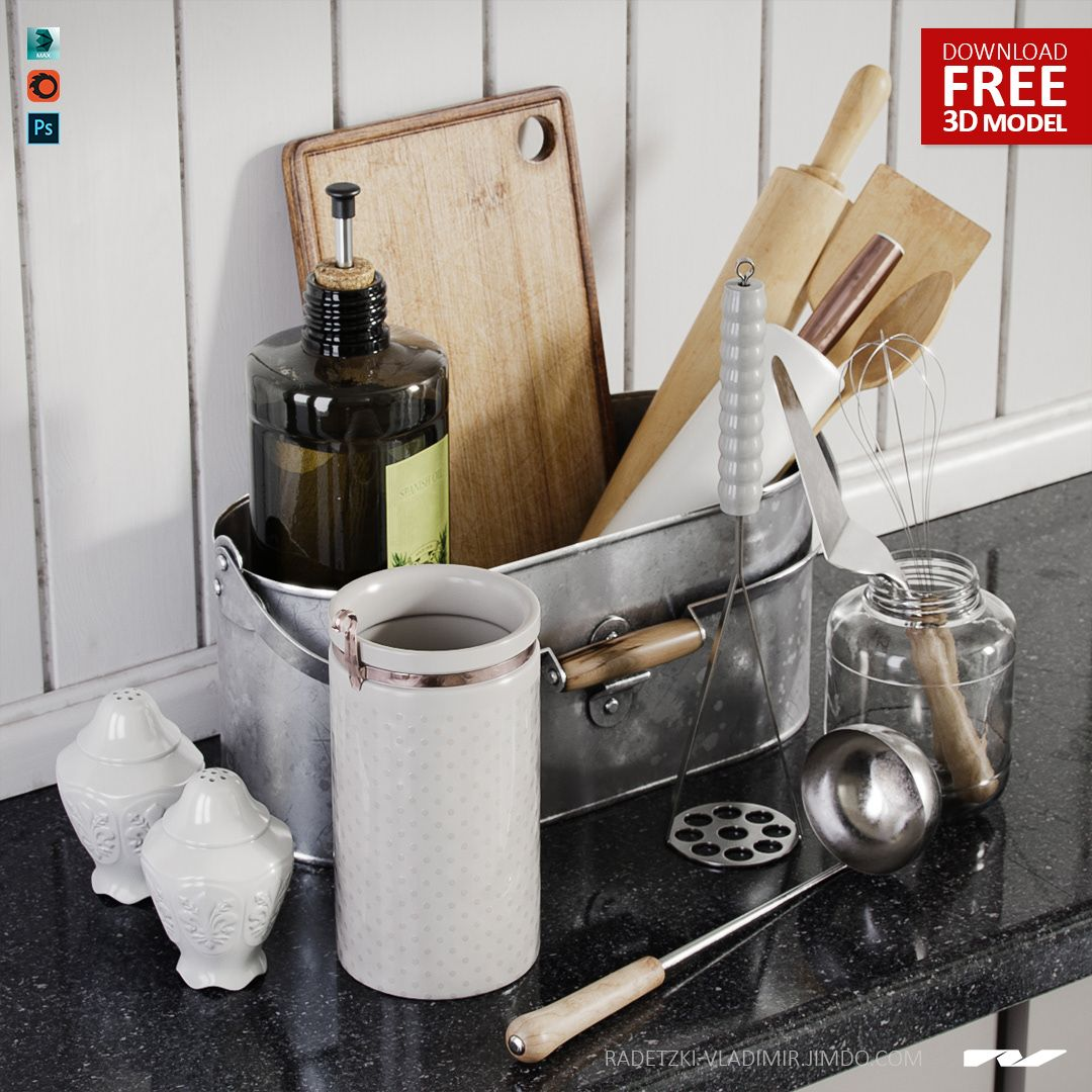 FREE 3D MODEL  Kitchenware (vol  02) (3dmax 2012, FBX