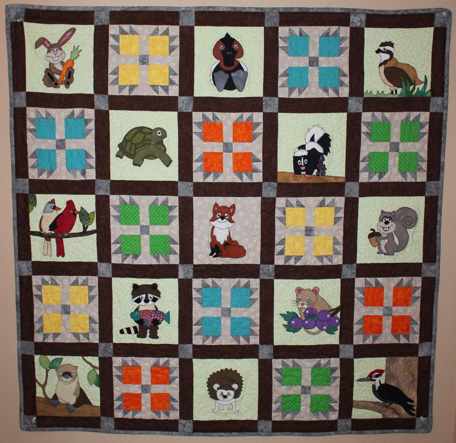 Woodland or forest animal applique baby or child's PDF quilt ... : baby quilt square ideas - Adamdwight.com