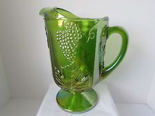 Vintage Indiana Glass: Green Harvest Grape Carnival Pitcher