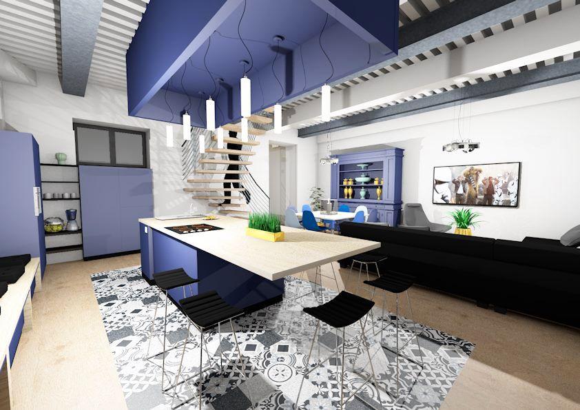 Tapis de carreaux de ciment avec une cuisine bleu  tendance ! Un
