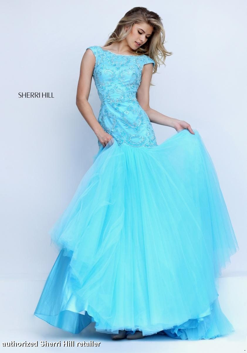 50016 Sherri Hill. Sherri Hill Prom dress. blue prom dress. flowy ...