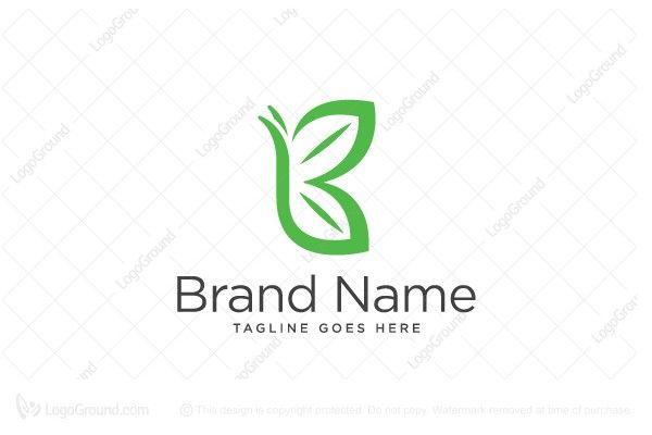 Logo for sale: Letter B logo; Butterfly logo; Leaf Feminine Baby Beauty  Fragrance