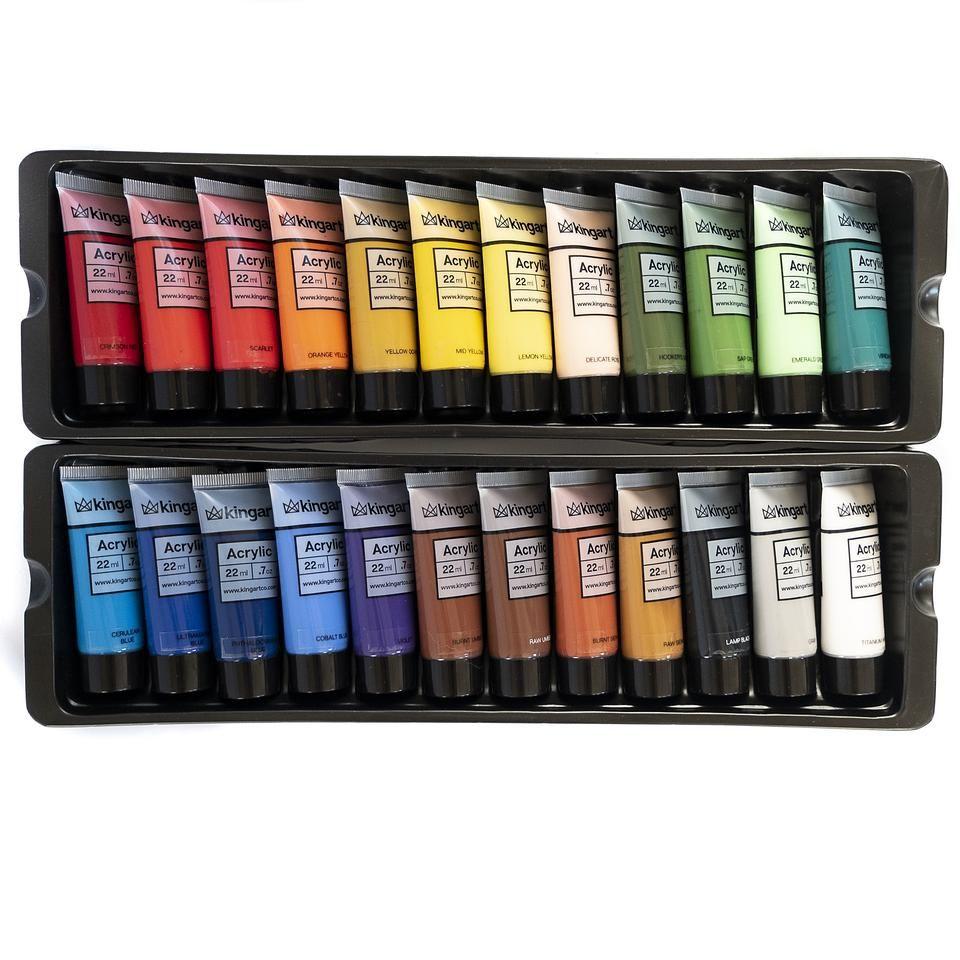 Pro Artist Acrylic Paint, 22ml, Set of 24 Unique Colors