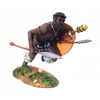 ZULU warrior CHARGING WITH assegai # 1
