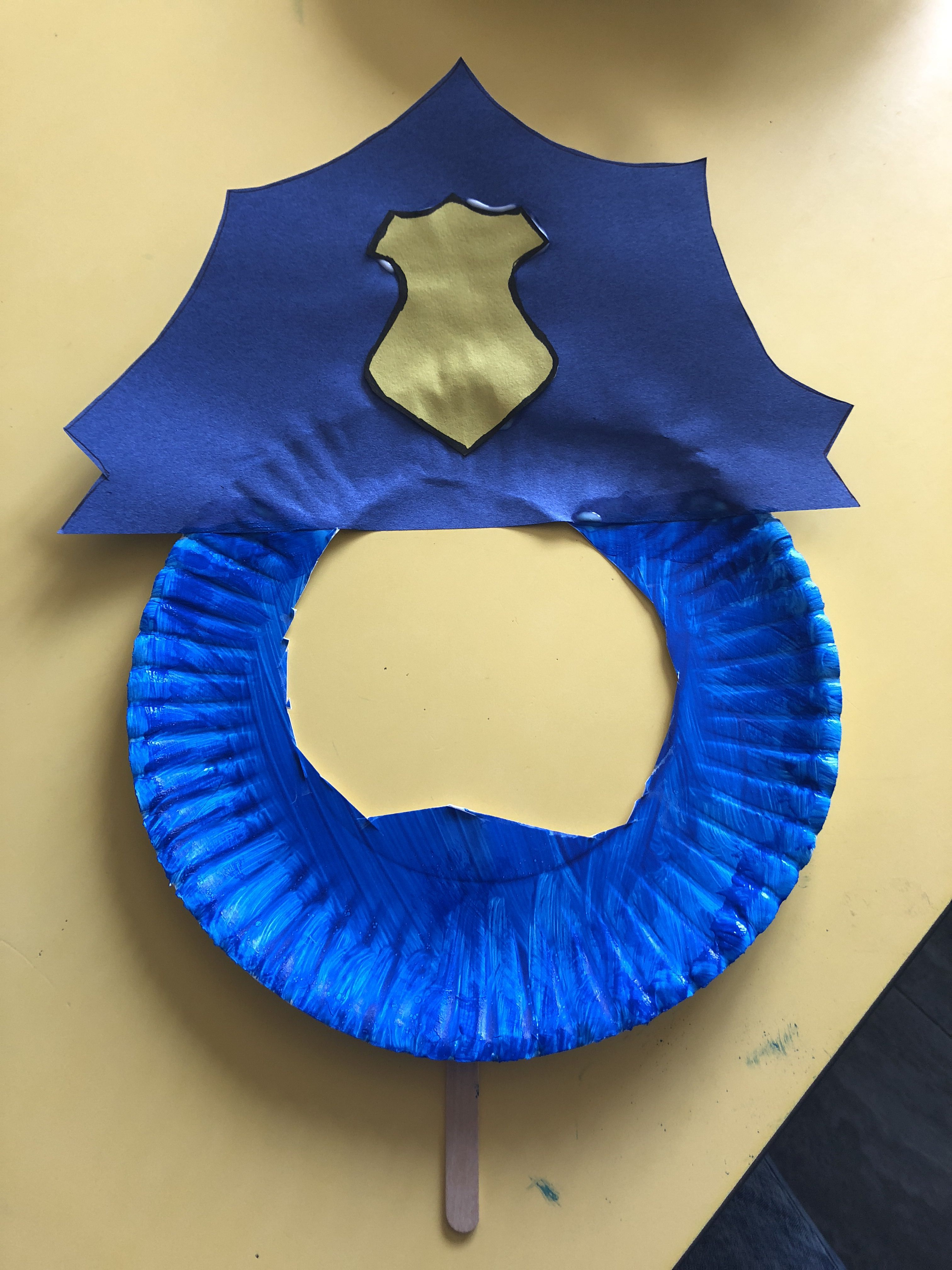 Safety Week Preschool Art Police Hat With Paper Plate And Popsicle Stick