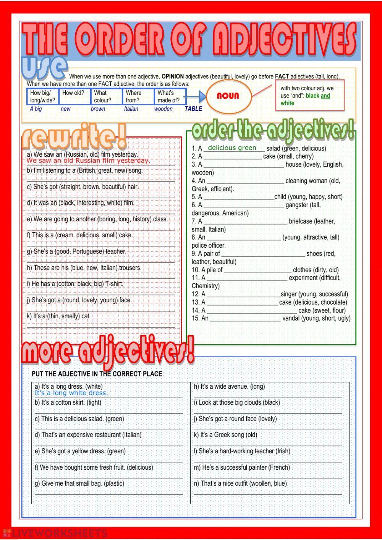 The order of adjectives Order of adjectives worksheet en