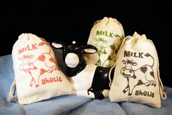 Milkaholic Cotton Muslin Favor Gift Party Bags by LindaFulghum, $1.25