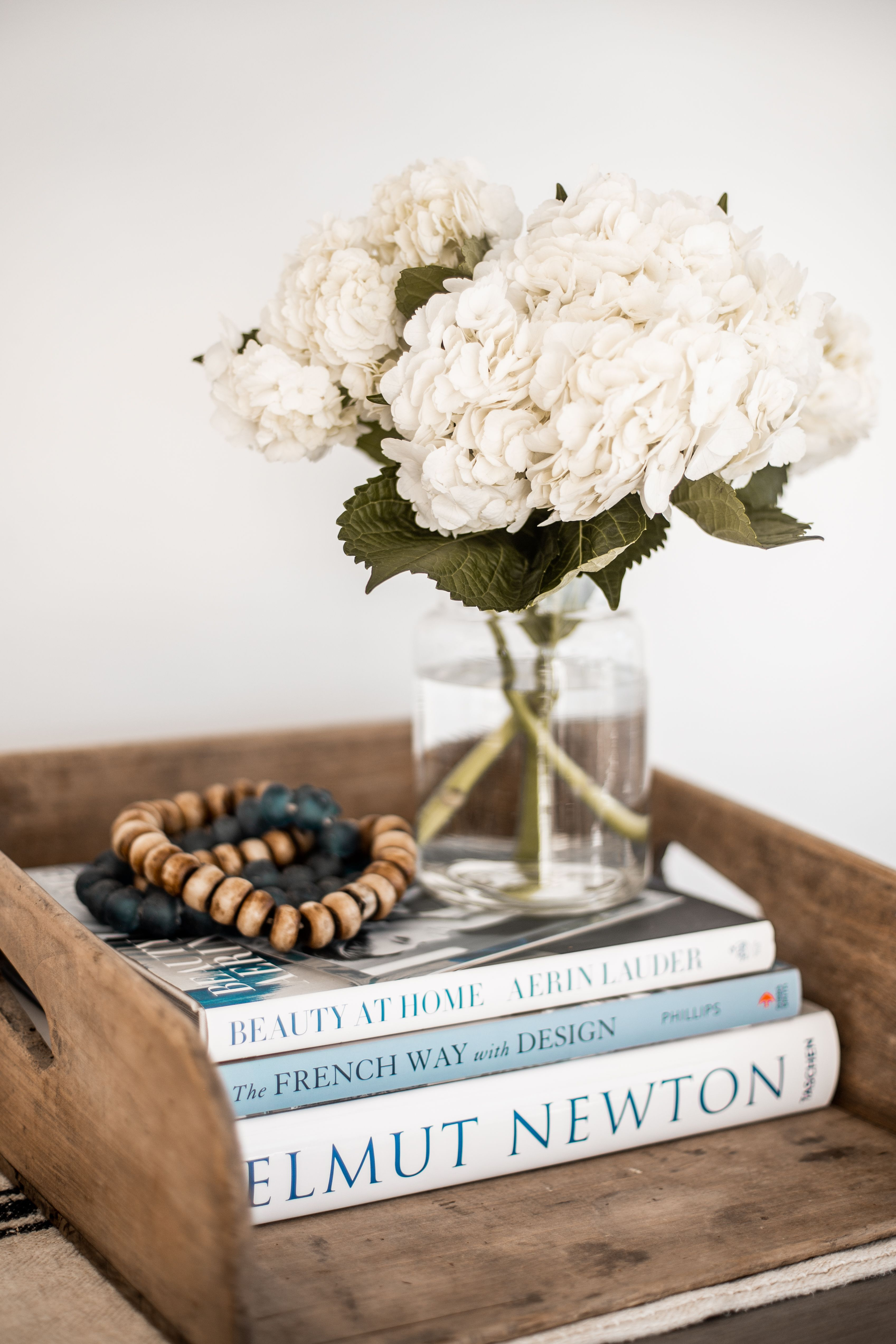 We Added Fresh Hydrangeas And Decorative Beads On A Stack Of Coffee