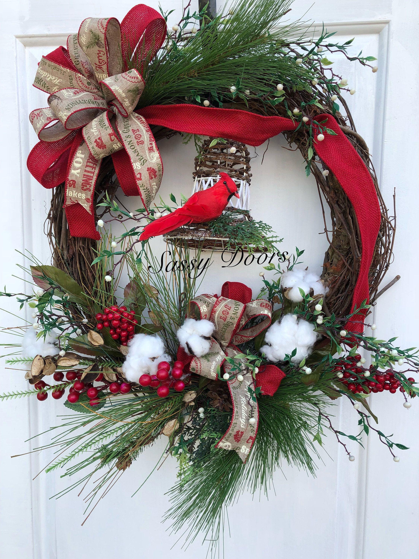 Woodland Christmas Wreath, Rustic Christmas Wreath, Cabin