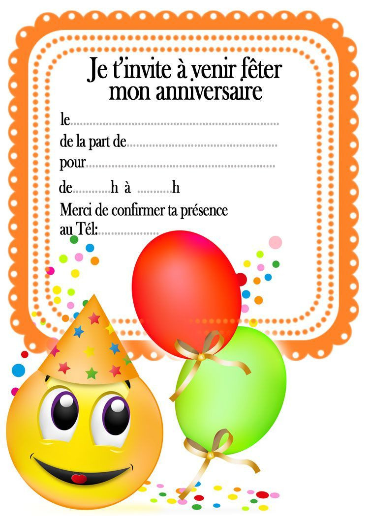 invitation d anniversaire a imprimer