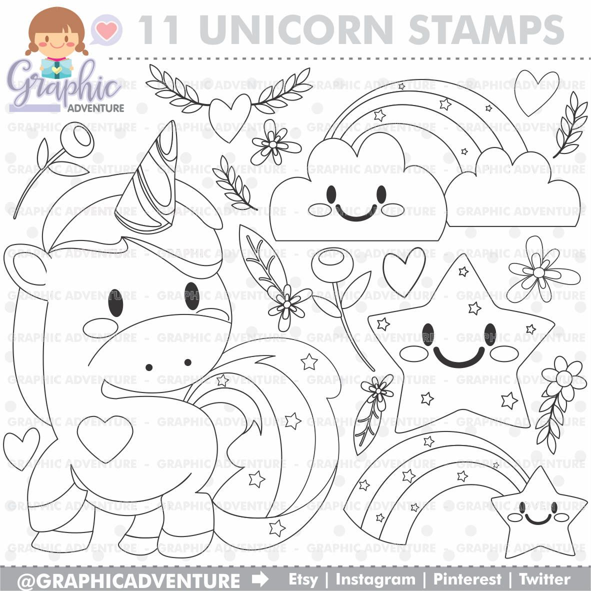 Unicorn stamp commercial use digi stamp digital image party digistamp unicorn coloring page unicorn clipart unicorn graphics graphic