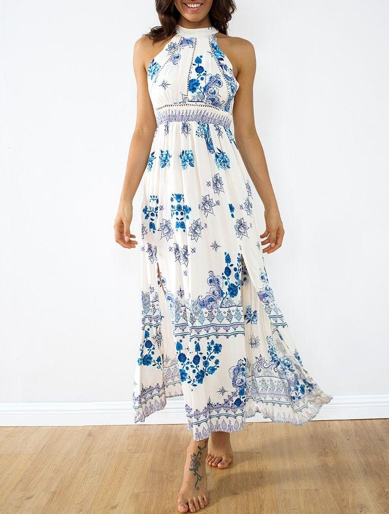 Click Buy Beautiful Long Sleeveless White Blue Floral Maxi Summer Dress Women Flowers Summer Dresses For Women Summer Outfits Women Summer Maxi Dress [ 1055 x 800 Pixel ]