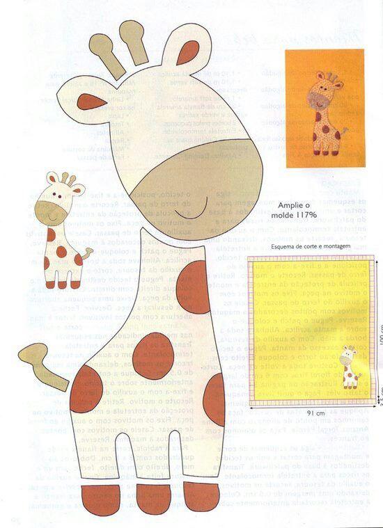 Cute Baby Giraffe Filz Giraffe Filzarbeiten Applikationsvorlage
