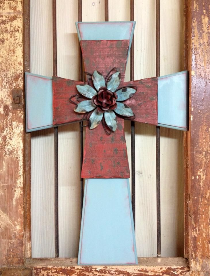 Large Metal Flower Cross by Floyd for Sass of Ash