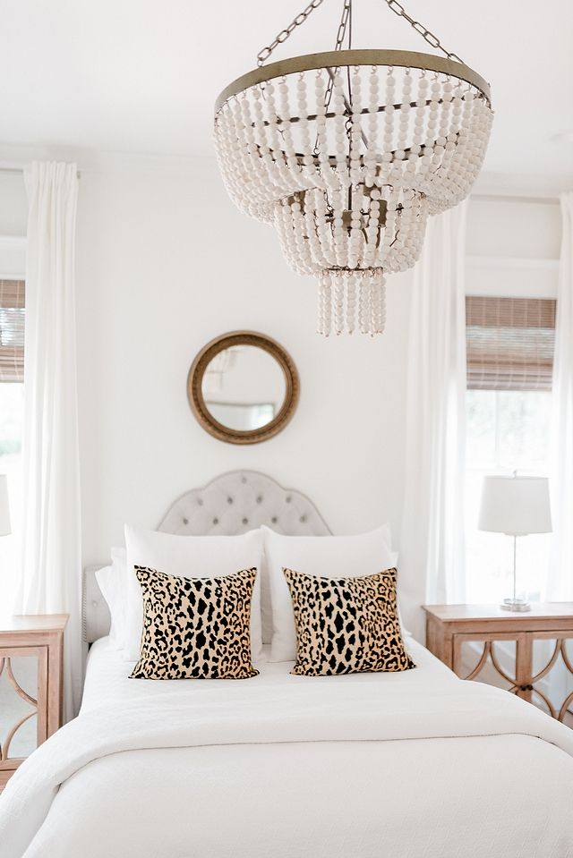 White Beaded Chandelier Bedroom Featuring An Affordable White