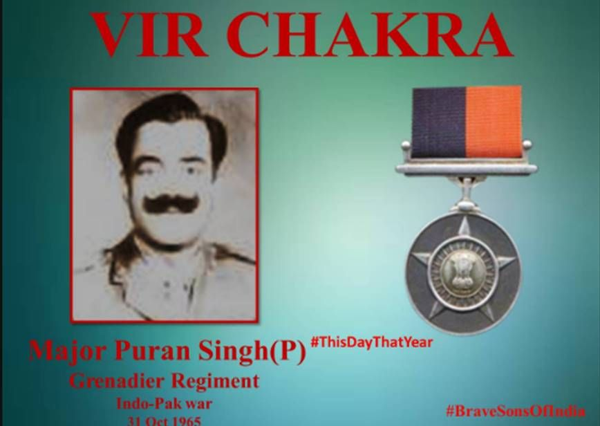 31 Oct 65.Major P Singh encircled  the enemy brought down effective firedestroyed position.Displayed courage & Valour .Awarded #http://VirChakra.pic.twitter.com/JHwmL98Ulg #IndianArmy #Army