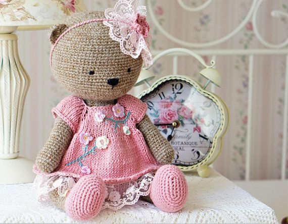 Teddy Bear Toy Handmade Crocheted Bear / Soft Toy / Stuffed Toy Bear by Polushkabunny #beartoy