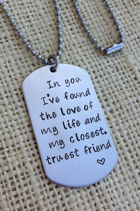 Custom Dog Tag Hand Stamped Love Quote Gift For Him Military Couple
