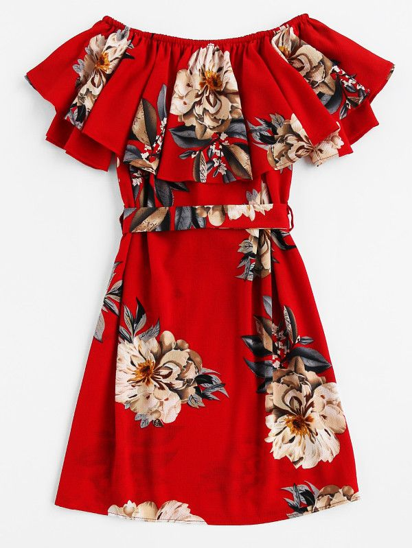fa43cd7512 Floral Print Layered A Line Dress With Belt -SheIn(Sheinside ...
