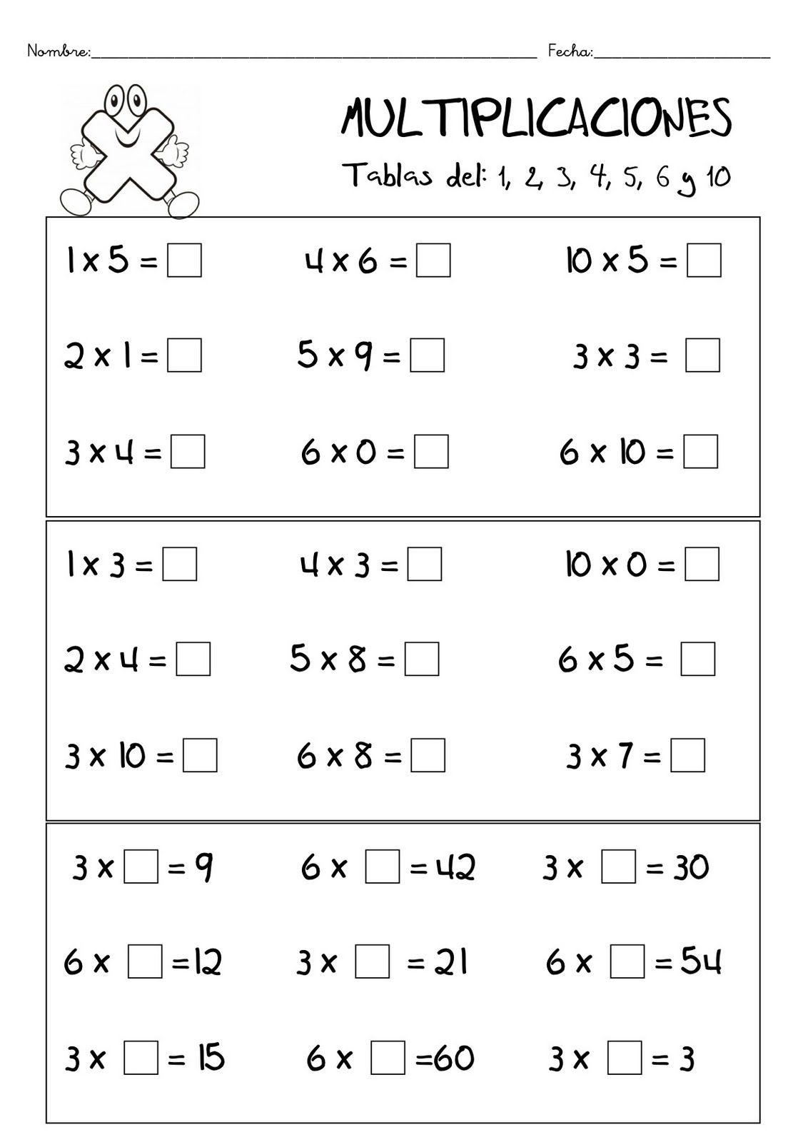 Fichas De Matematicas Multiplicacion Tablas De