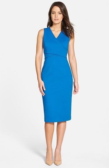 Classiques Entier® 'Sunmosa' Ponte Double V-Neck Sheath Dress available at #Nordstrom