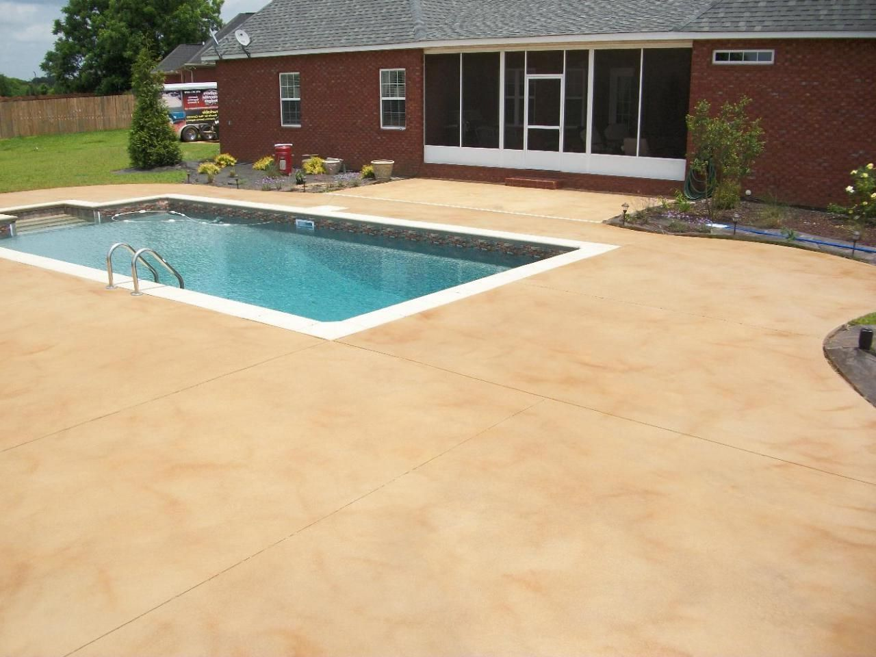 Best Paint For Concrete Pool Deck And Best Colors For A Cement Pool Deck Google Search Outdoor Concrete Pool Painted Patio Cement Pools