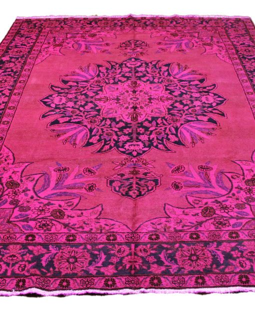 7x10 Antique Persian Tabriz Overdyed Rug Hot Pink 2728 Hot Pink