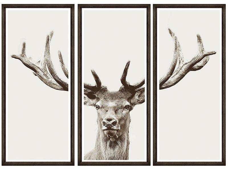 Geometric Abstract Deer Stag Animals SINGLE Leinwand Wand Kunst Bild drucken