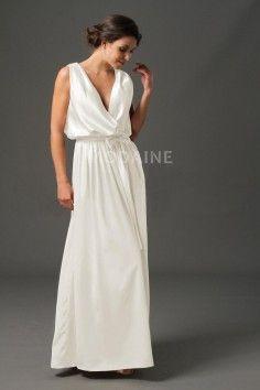 88ab55e3a7b Taffetas robe de mariée moderne col en V simple pas chère ceinture ...