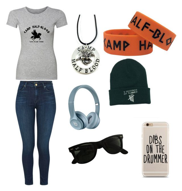 """My OC J.C"" by a-ms-valdez ❤ liked on Polyvore featuring J Brand, Ray-Ban, percyjackson and pjo"
