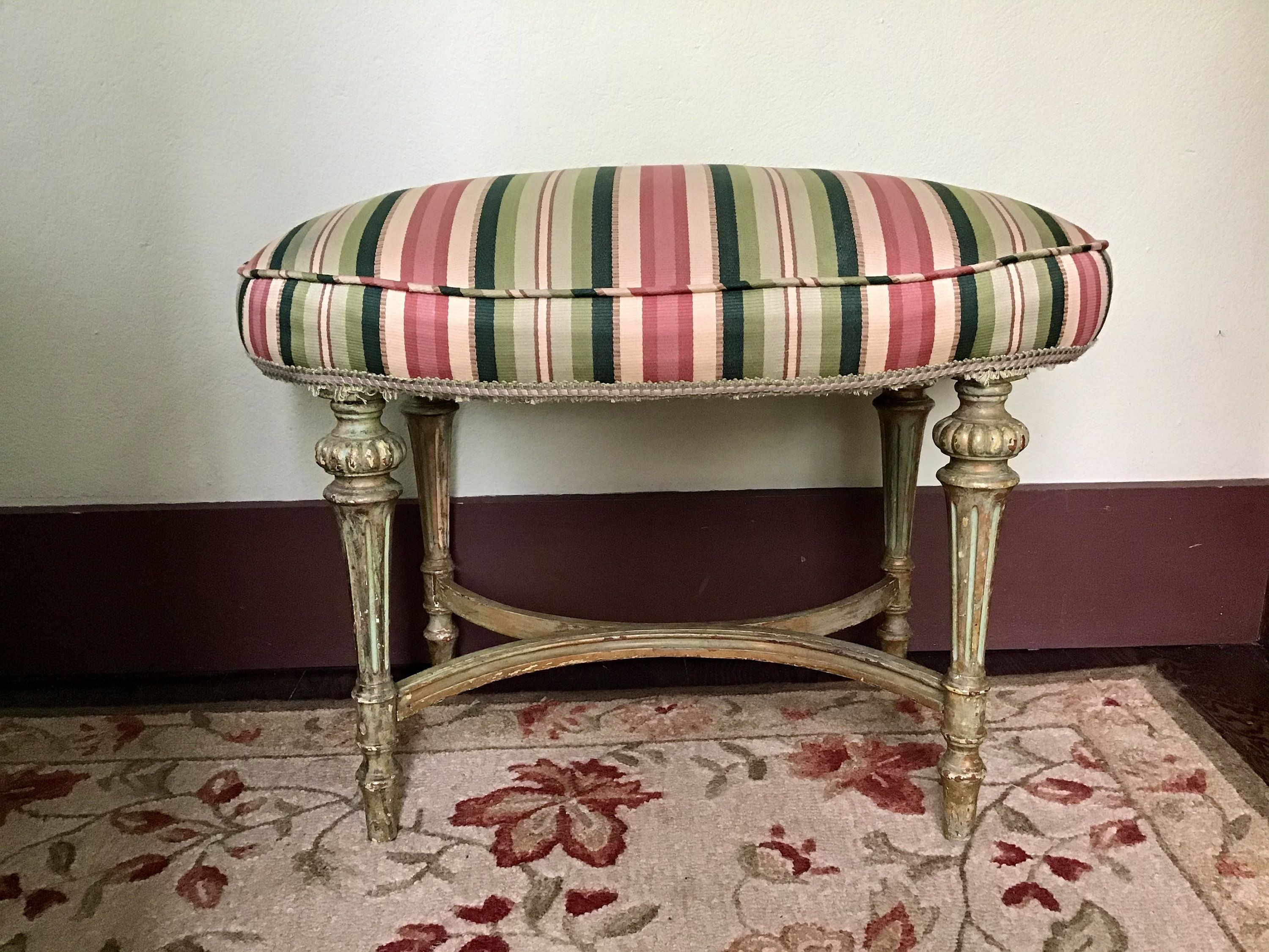 Upholstered Stool Vintage Vanity Stool Distressed Stool Painted Bench Shabby Chic Upholstered Stool Vanity Stool Vintage Vanity