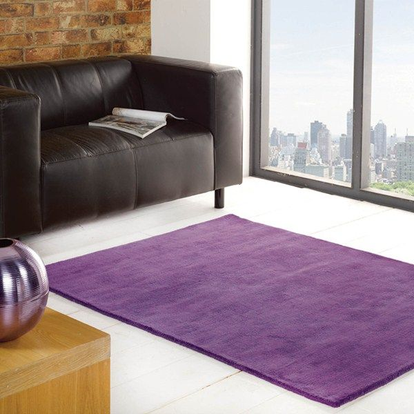 Glade Plain Rugs are handmade in India with a soft, 100% Cotton pile that offers a soft sheen. #PurpleRugs #PlainRugs