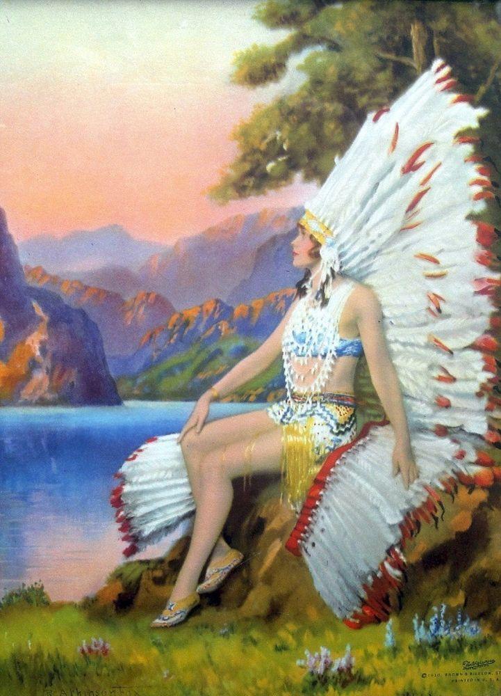 """White Feather :  Indian Maiden : R. Atkinson Fox : Fine Giclee Print 11x17"""" #VintageCalendarArt"""