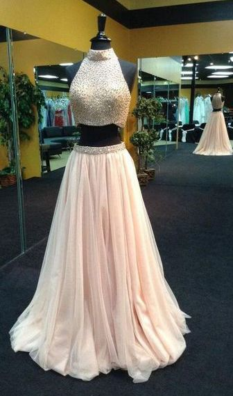 Popular Two Pieces Prom Dress,Halter Pink Party Dress,Beaded Evening Dress,Sleeveless dress