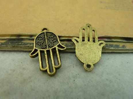 20pcs antique brass Karma hand charm A5113 by ministore on Etsy, $3.65