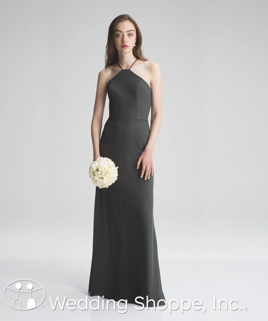 A sleek chiffon bridesmaid dress with a high halter neckline a sleek chiffon bridesmaid dress with a high halter neckline bill levkoff 7007 ombrellifo Images