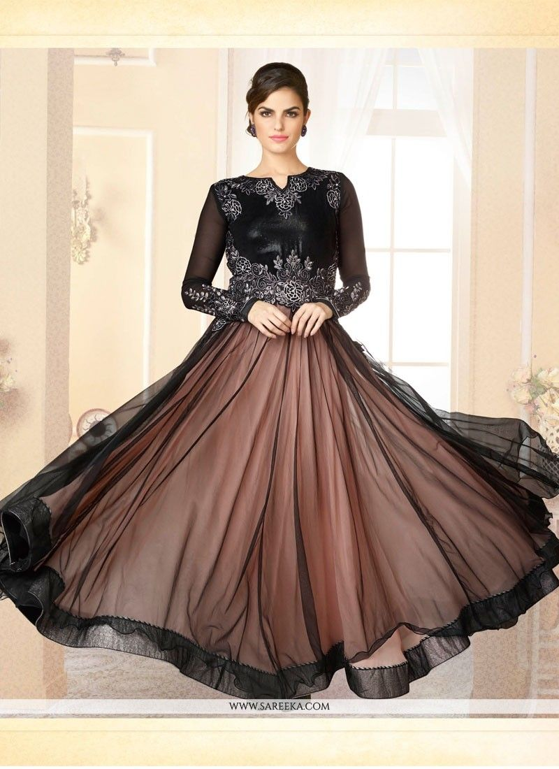 2767137ee9d Brown and black net designer gown with embroidery