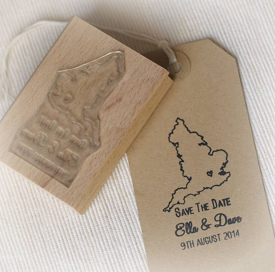 Personalised wedding save the date rubber stamp, with a map pinpointing your venue location with a small heart. You can expect an email with a digital proof within 48hrs for you to check and confirm. If for any reason you don't receive an email within 2-3 days please get in touch with us. Once your digital proof has been confirmed your order will take a week (estimated) to be dispatched. The resin is hand-cut and mounted onto a wooden block . Works with any ink pad which you can also add ...