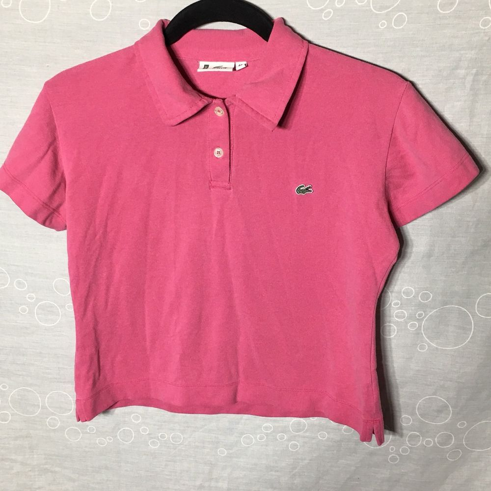 16415a09c Women s Lacoste Sport Polo Cropped Top Size 42 L-XL Pink Side Slit Stretch