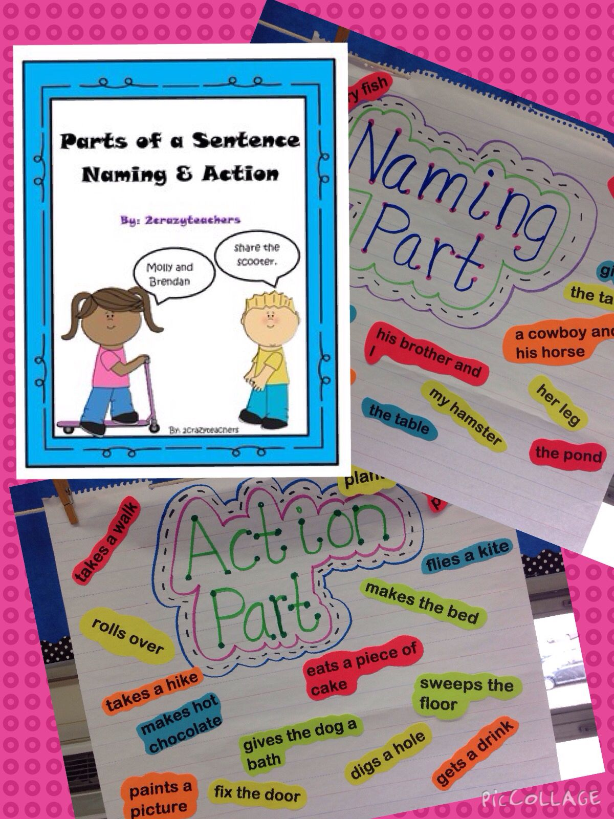 Parts Of A Sentence Naming And Action