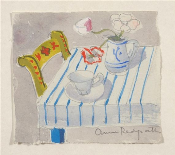 Anne Redpath, Still life of flowers, a teacup and saucer upon a blue striped table cloth