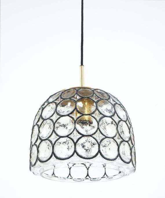 Limburg Glass And Brass Pendant Lamp Light Germany 1960