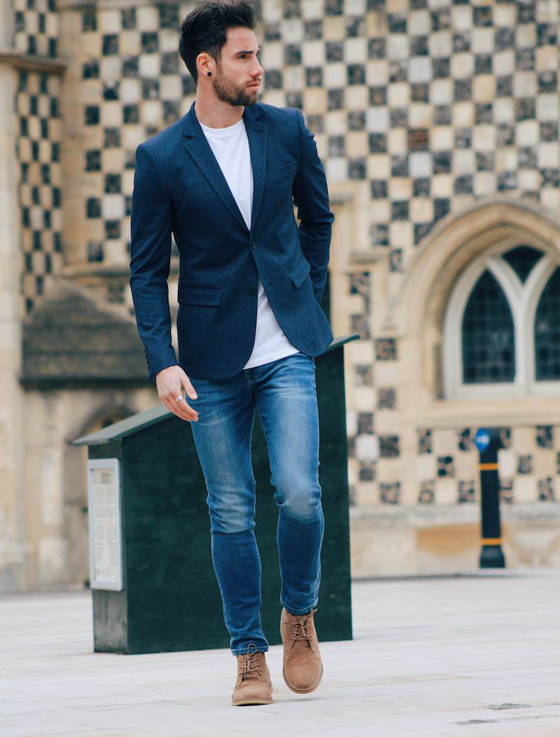 what shoes to wear with jeans  blazer outfits men casual