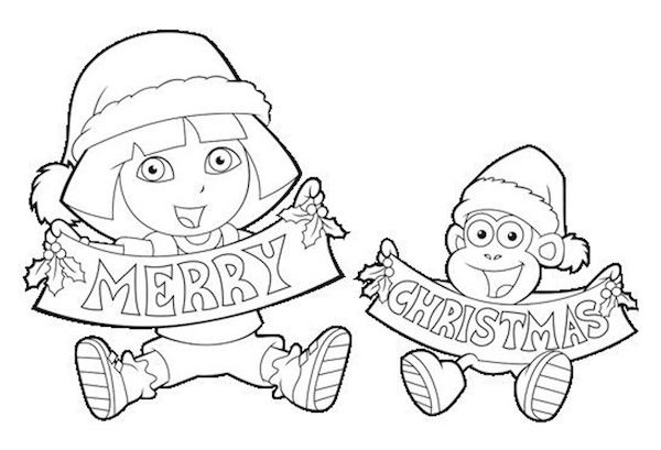 Free #Christmas Coloring Pages - Dora the Explorer and Boots - new dora christmas coloring pages free printable