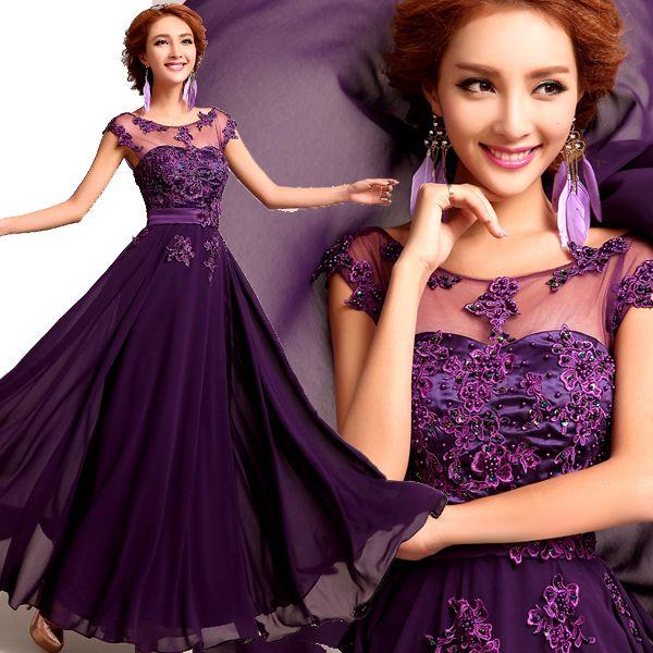 Cheap Púrpura elegante vestido de boda y largo damas de honor ...